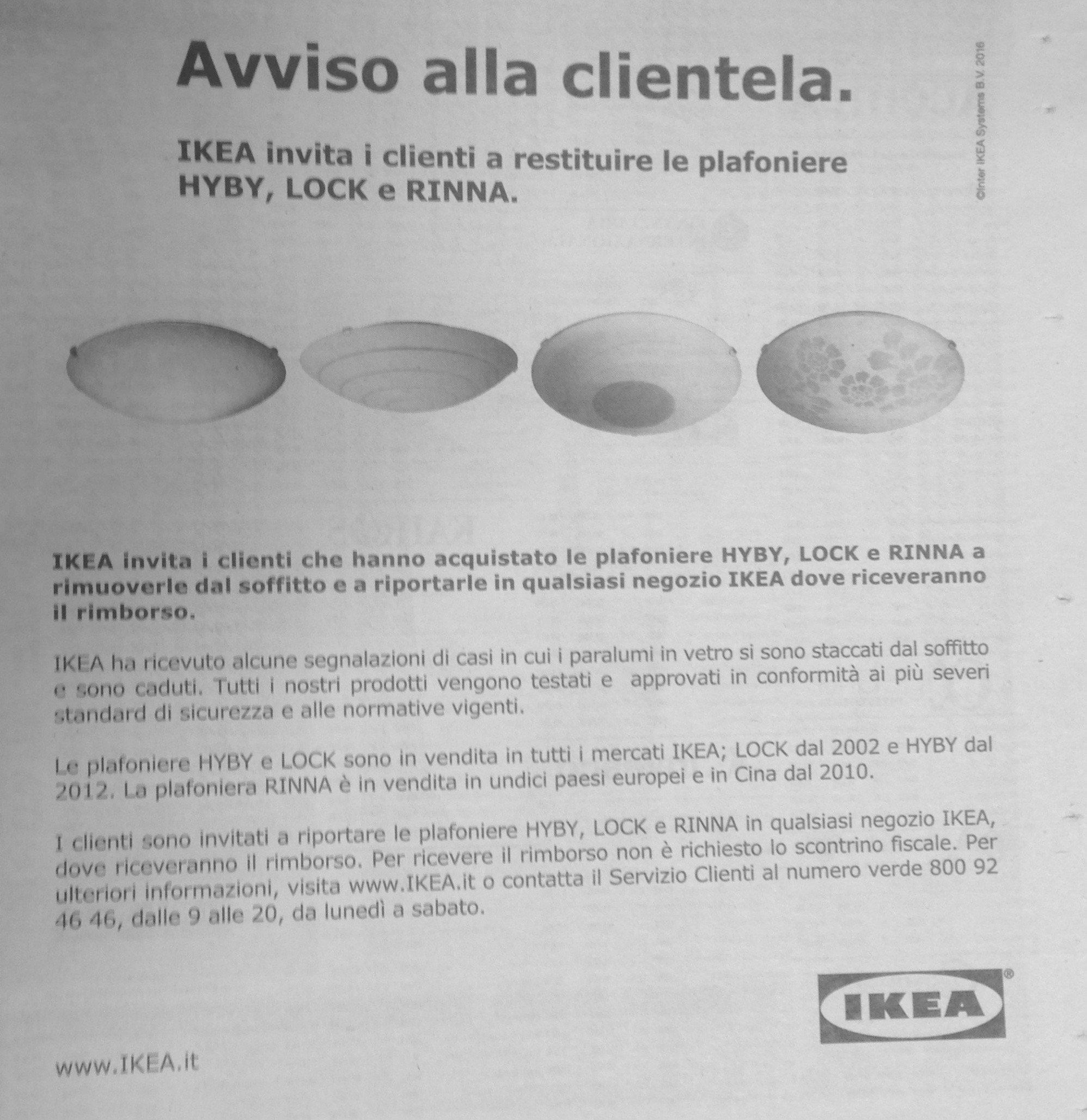 Ikea richiama anche in italia i lampadari hyby e lock e - Acquisto on line ikea ...